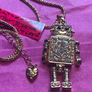 Betsey Johnson Crystal robot Necklace